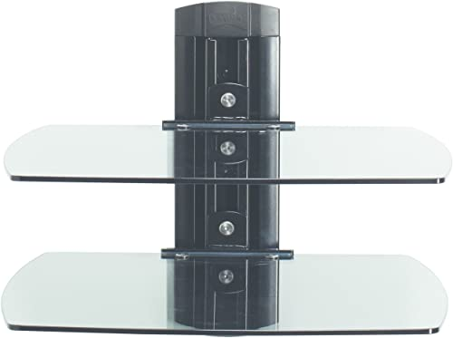 Sanus VF3012-B1 On-Wall Component Shelving Single-Column AV Component System with Two Adjustable Shelves Black
