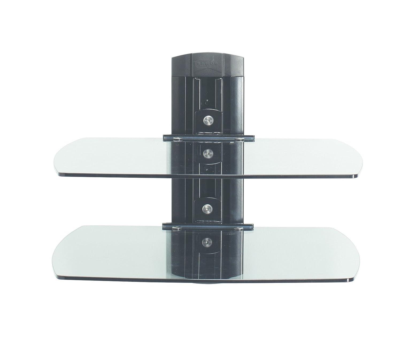 Sanus VF3012-B1 On-Wall Component Shelving Single-Column AV Component System with Two Adjustable Shelves Black