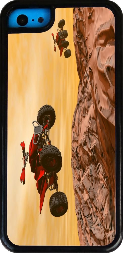 Rikki Knight Dirt Bikes Dessert Extreme Sport Design iPhone 5c Case Cover (Clear Rubber with bumper protection) for Apple iPhone 5c by Rikki Knight