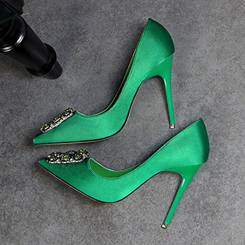 GAOLIM Zapatos De Mujer Para El Taladro De Agua De Manantial A La Punta De Los Zapatos De Tacón Alto Fino Con Singles Femeninos Zapatos Zapatos De Boda Boca Superficial, Alta Heel Shoes Mujer Luz verde