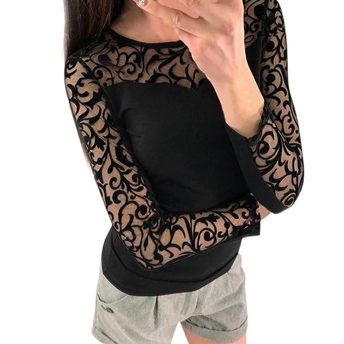 7c179232824b Hevoiok Damen Sexy Oberteile, Mode Freizeit Frühling Sommer O Ausschnitt  Hemdbluse Spitze Einfarbig Beiläufige Langarm