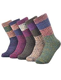 Ziye Shop 5 Pairs Vintage Style Knitting Warm Winter Crew Socks for Girls and Women