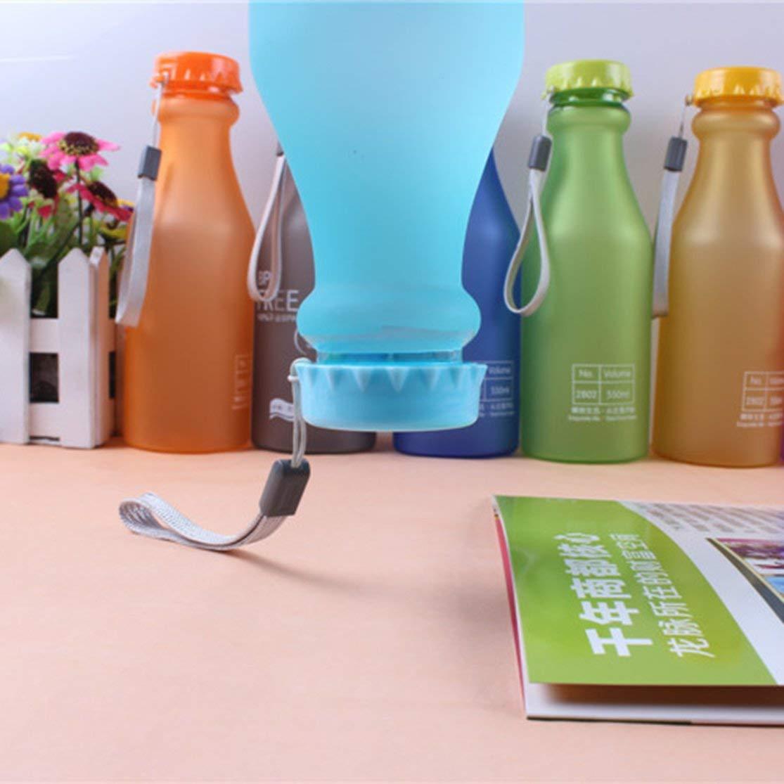 LouiseEvel215 Bottiglia di Acqua di Sport allaperto Bottiglia di Acqua di plastica a Prova di perdite Portatile di Colore della Caramella con la Tazza di Acqua di Viaggio di Campeggio della Corda