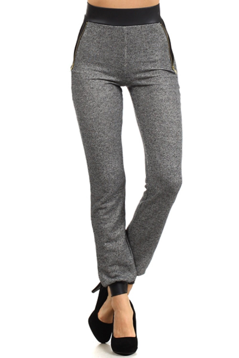 2Chique Boutique Women's Peppered Knit Cuffed High Waisted Sweatpants with Zipper Detail (small)