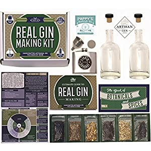 Homemade Gin Kit + Flask - (14-Piece Brewing Set) For Making Delicious Martinis, Gin and Tonics, Spirits & Cocktails At Home | Botanicals, Stainless Steel Flask, Recipe Guides, Bottles & Labels & More