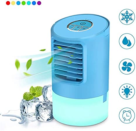 QHGao Ventilador De Hielo Portátil para Enfriador De Aire,Luz LED De 7 Colores, Ventilador De Mesa Personal Ultra Silencioso Enfriador De Aire con Evaporador,Evaporador De Aire Compacto(2 Piezas): Amazon.es: Hogar