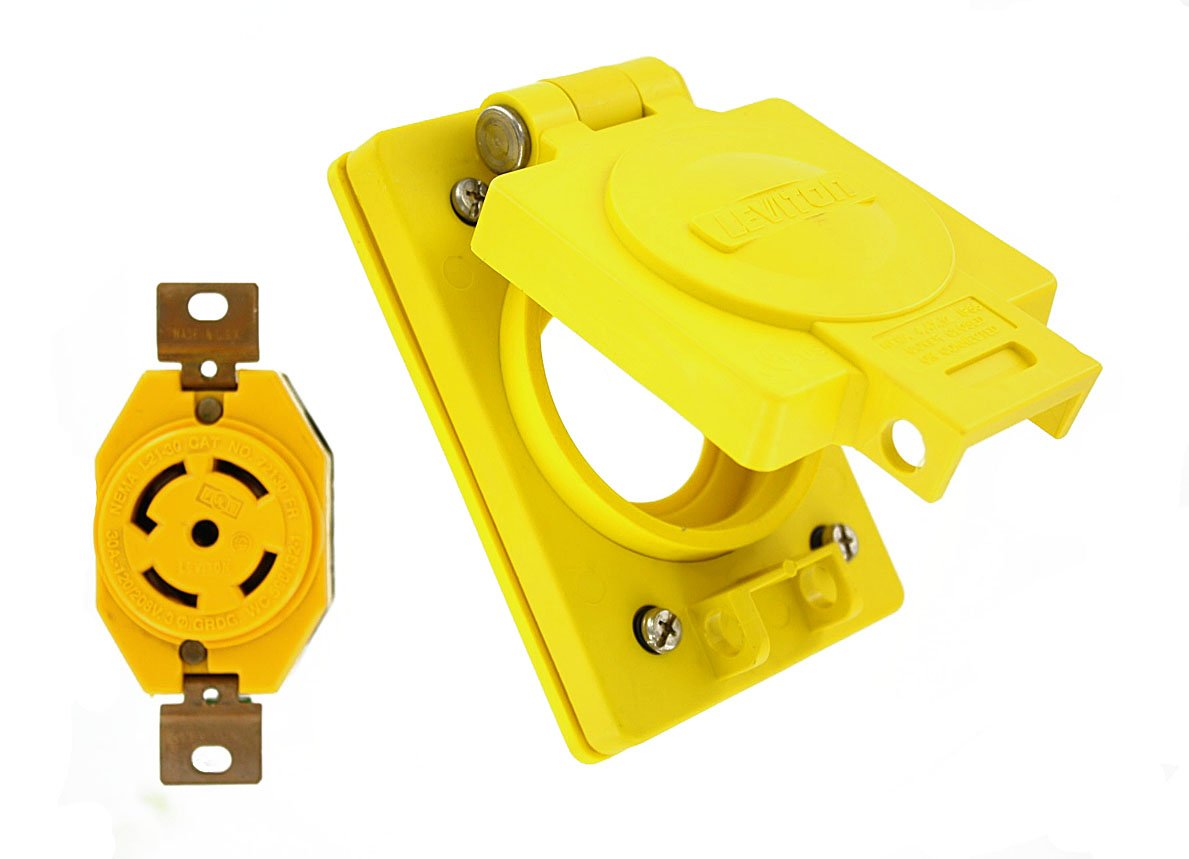 Leviton 69W81 30-Amp, 120/208 Volt- 3PY, Flush Mounting Locking Receptacle, Industrial Grade, Grounding, Wetguard with Cover, Yellow