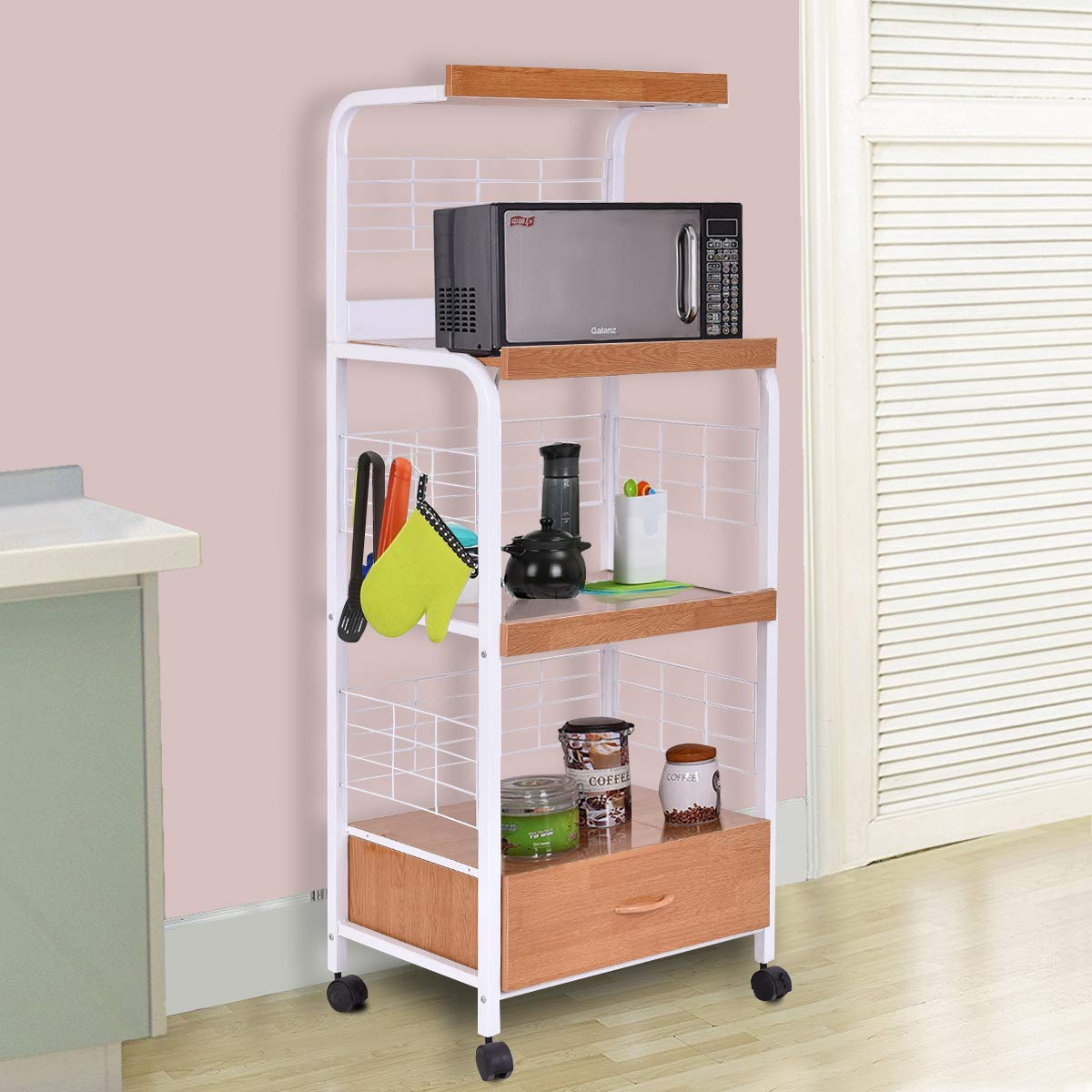 Giantex Microwave Cart Kitchen Baker's Rack Microwave Oven Stand Rolling Kitchen Storage Cart Utensils Organizer w/Electric Outlet and Drawer by Giantex (Image #3)