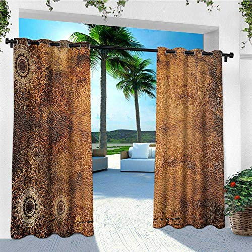 (leinuoyi Tan, Outdoor Patio Curtains, Aged Old Texture Print Artistic Floral Motifs Vintage Upholstery Concept, for Patio W84 x L108 Inch Brown Pale Brown Tan)
