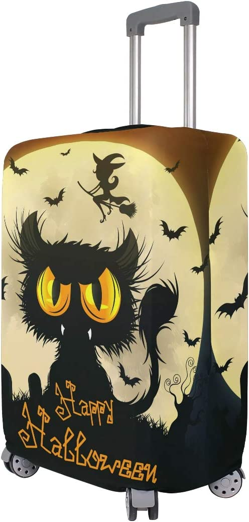 ALAZA Luggage Protector,Halloween Black Cat Elastic Travel Luggage Suitcase Cover,Washable and Durable Anti-Scratch Case Protective Cover for 18-32 Inches