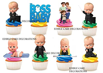30 X The Boss Baby Characters Party Stand Up Edible Paper Cupcake Toppers Cake Decorations