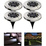 Ground Solar Lights, leegoal(TM) Upgraded Waterproof Outdoor Solar Landscape Lighting with 8 LED, Dark Sensing for Driveway, Pathway, Patio, Lawn, Square, Pool, Yard(White,4Pcs)