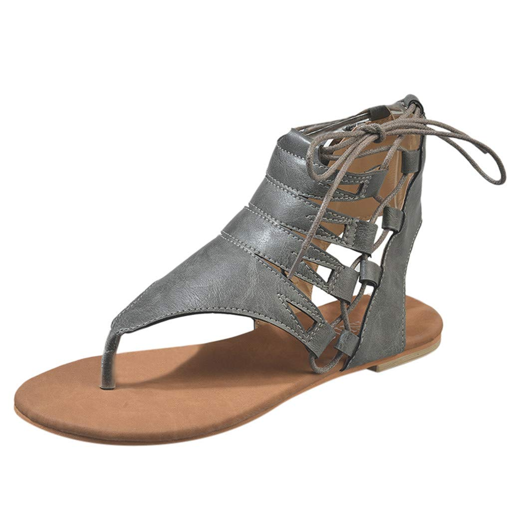 Womens Roman Strappy Gladiator Flat Dress Sandals,Summer Ankle Flat Shoes,Cutout Lace-Up Open Toe Zip Gladiator Sandal