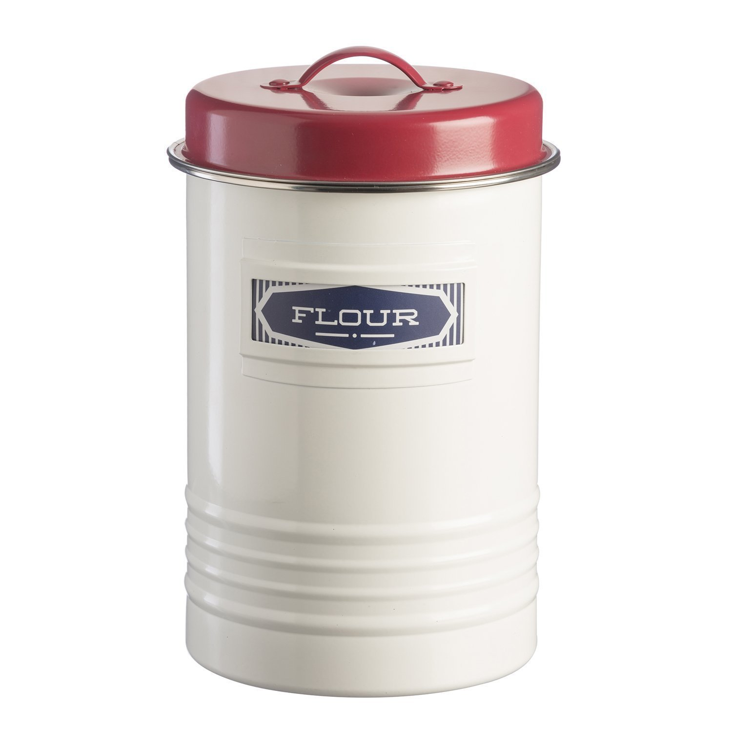 Typhoon Vintage Belmont Storage Tin, 104-Fluid Ounces, White, Red, Blue 1400.126