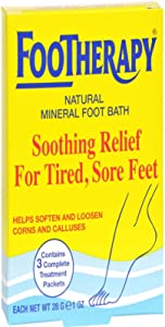 FooTherapy Natural Mineral Foot Bath, Soothing Relief For Tired, Sore Feet, 3 packets