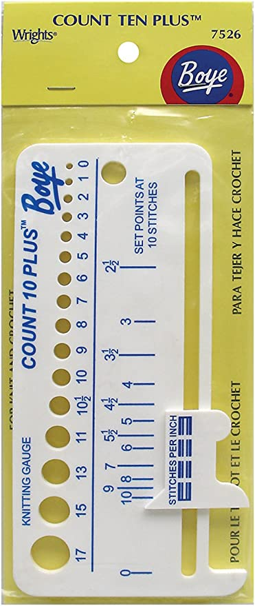 BOYE COUNT TEN PLUS KNITTING /& CROCHETING GAUGE FINDER