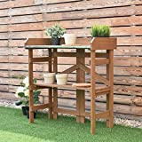 Natural Finish Wood Potting Bench Workstation Storage Outdoor Planting Gardening