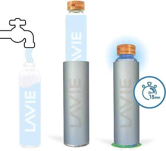 LaVie 2Go es un Purificador de Agua Compacto Innovador con luz UVA, que funciona Sin Consumibles. Transforme su Agua del Grifo en Agua Pura y Deliciosa en 15 minutos - Color gris