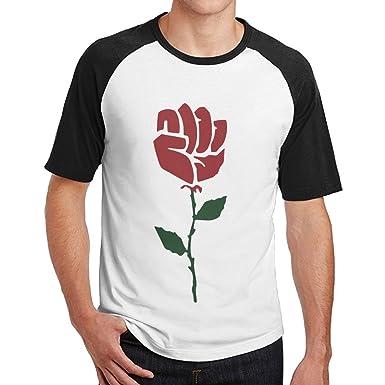 415cbaba51d0 Men s Rose Resist Hands Up Casual Short Sleeve Baseball T-Shirt Raglan Tee  Black Sleeve