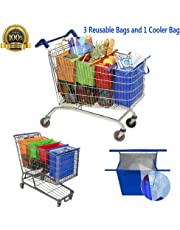 Bolsas Reusables - Kit de 4 bolsas reusables en colores Naranja, Verde, Morado y Azul. Adaptadas para carritos de supermercados en Mexico (Colorear+1)