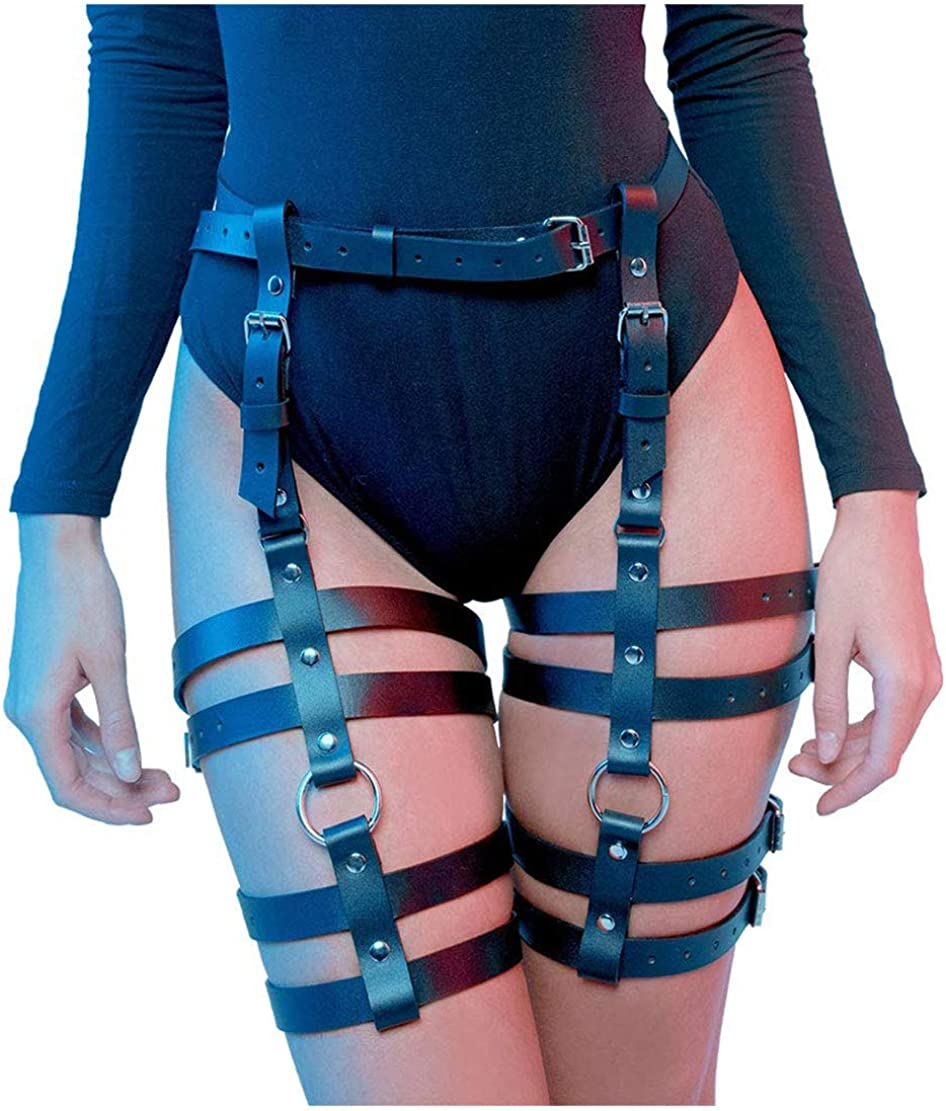 HOMELEX Womens Leg Harness Caged Thigh Holster Garters Harajuku Waist Gothic Rings Belt for Rave Outfits