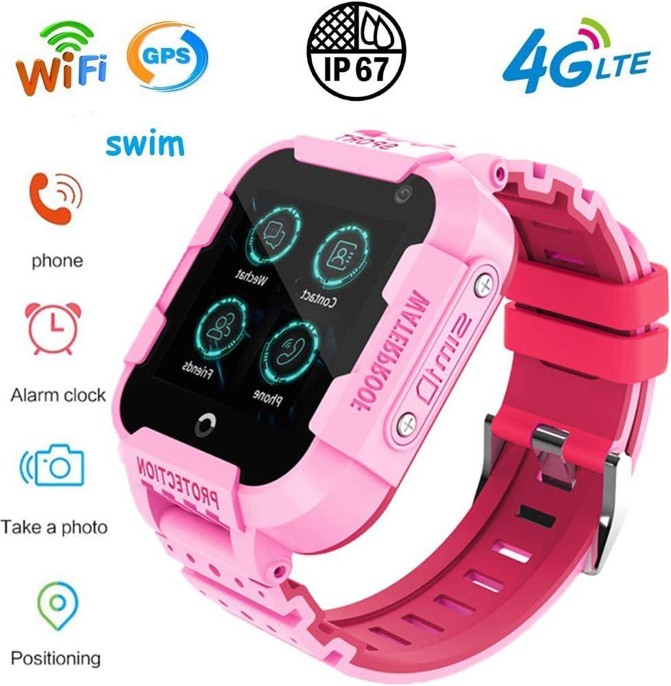 Relojes Inteligentes 4G Wifi GPS Para Los Niños Impermeable Del Teléfono Reloj Deportivo SOS Tracking Localizador Reloj Despertador Chat De Voz Anti-Perdido De Android Y El IOS Niños Niñas,Rosado