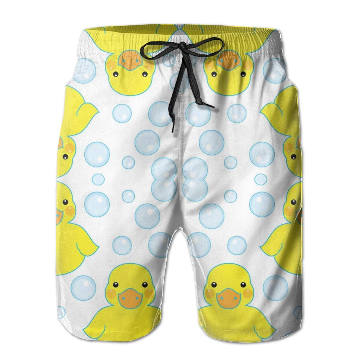 P-AKAS Men's 3D Print Board Shorts - Rubber Ducks and Bubbles Casual Fashion Swim Trunks - Side Pockets Elastic Waist Drawstring Water Beach Sports Running Swimwear