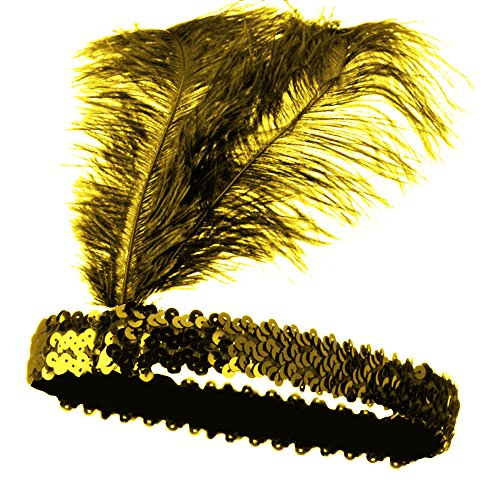Roaring 20's Gold Sequined Showgirl Flapper Headband w/ Yellow Feather Plume -