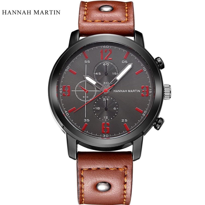 Sinamメンズ時計クラシックレザー腕時計アナログクォーツ防水腕時計for Hannah Martin B071DP555R ブラック
