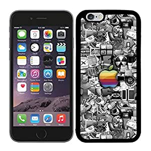 FUNDA CARCASA TPU GEL PARA IPHONE 6 PLUS MANZANA DE COLORES CON FONDO ESTAMPADO BORDE NEGRO