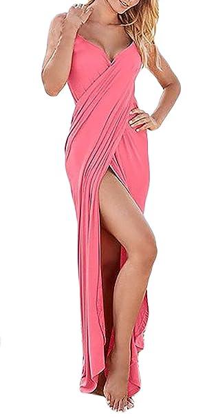 Donna Vestiti Estivi Senza Maniche Lunghi Abito V Scollo Eleganti Backless  Unico Vestito Con Spacco Incrociata 3777bbcbf68