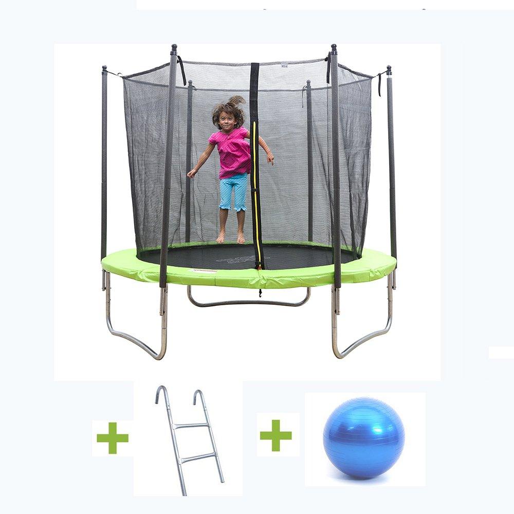 Ise Trampolin 430cm Enfan grün mit Netz und Schutz Trampolin mit eine Ball Yoga- und seine Leiter,