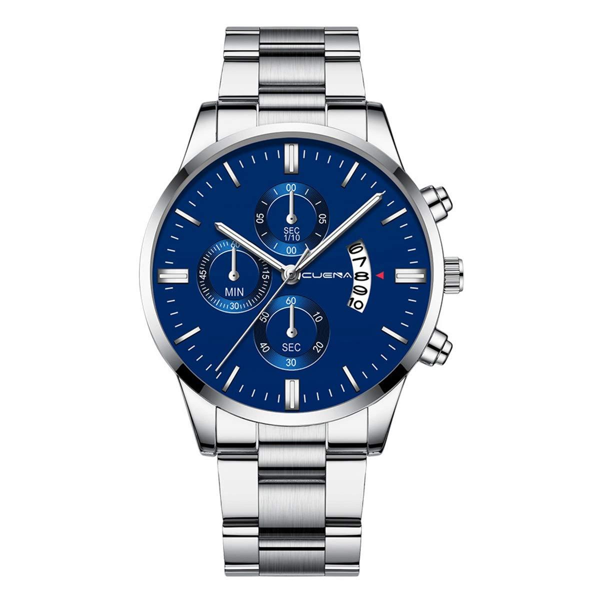 ZODRQ Men's Watch,Fashion Waterproof Sport Watches Stainless Steel Wrist Watch Wristwatch Date Quartz Watch for Men Gift (M) by ZODRQ