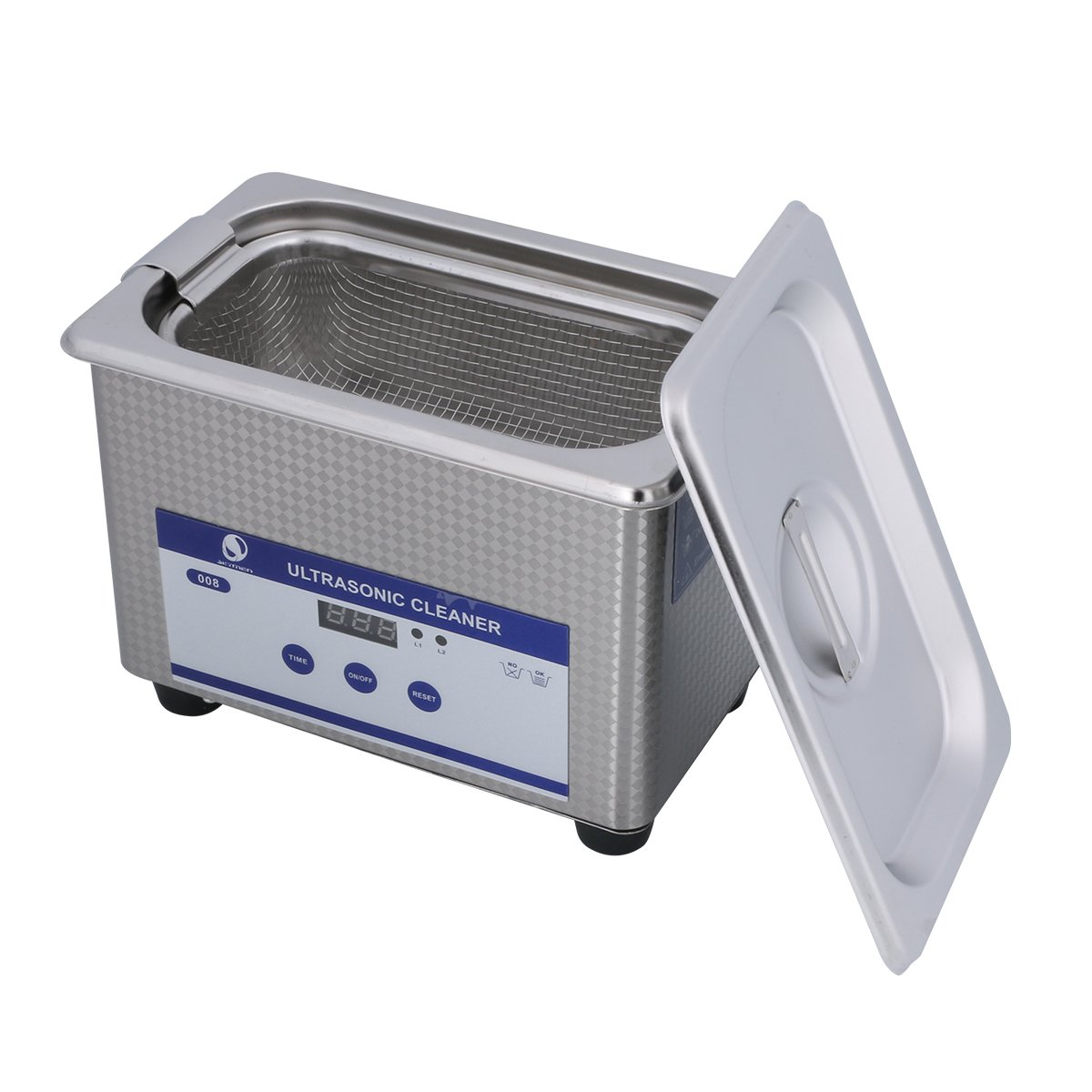 Ultrasonic Cleaners Digital Timer for Cleaning Jewelry and Eyeglass 100-120V/60HZ 35W 0.8L stainless steel by Skymen