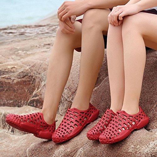 Hatop Unisexe Évider Décontracté Couple Plage Sandale Tongs Chaussures Rouge