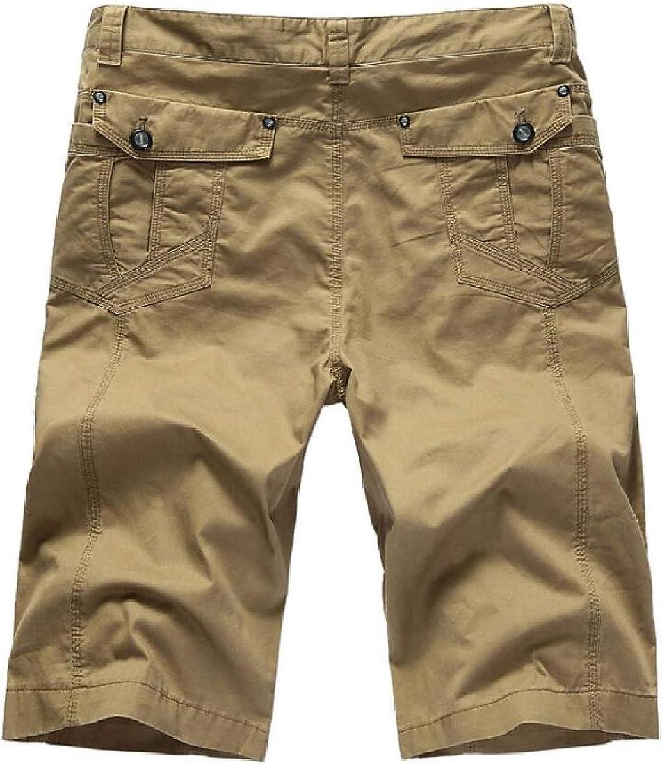 mydeshop Mens Casual Cotton Solid Multi-Pocket Summer Cargo Shorts Khaki 28