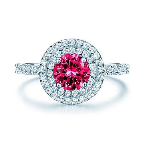925 Glamulet de plata de ley con rubí Zirconia cúbico anillo de bodas de compromiso