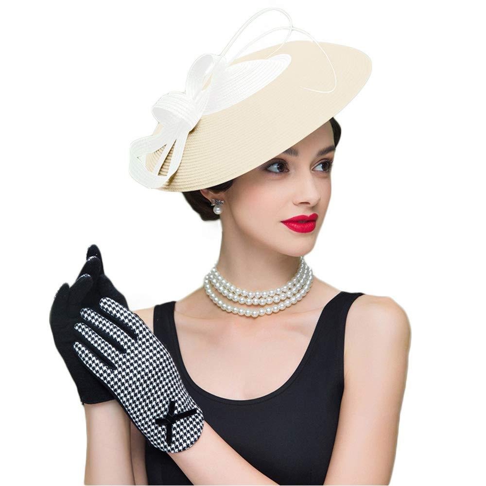 FADVES Fascinators Pillbox Hat Weddings Women Straw Fedora Vintage Sinamay Base Hats Khaki