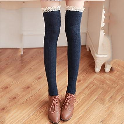 saylave Womens invierno cálido Calcetines de más de la rodilla rodillera para detalles de encaje