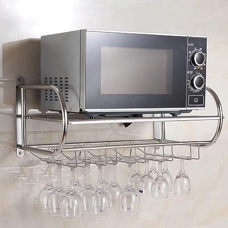 MAIKA HOME - Soporte para vino de acero inoxidable/Soporte colgante/Colgante/Estante de cocina/Pared para rack de microondas (tamaño: 54 * 40 * 31CM)