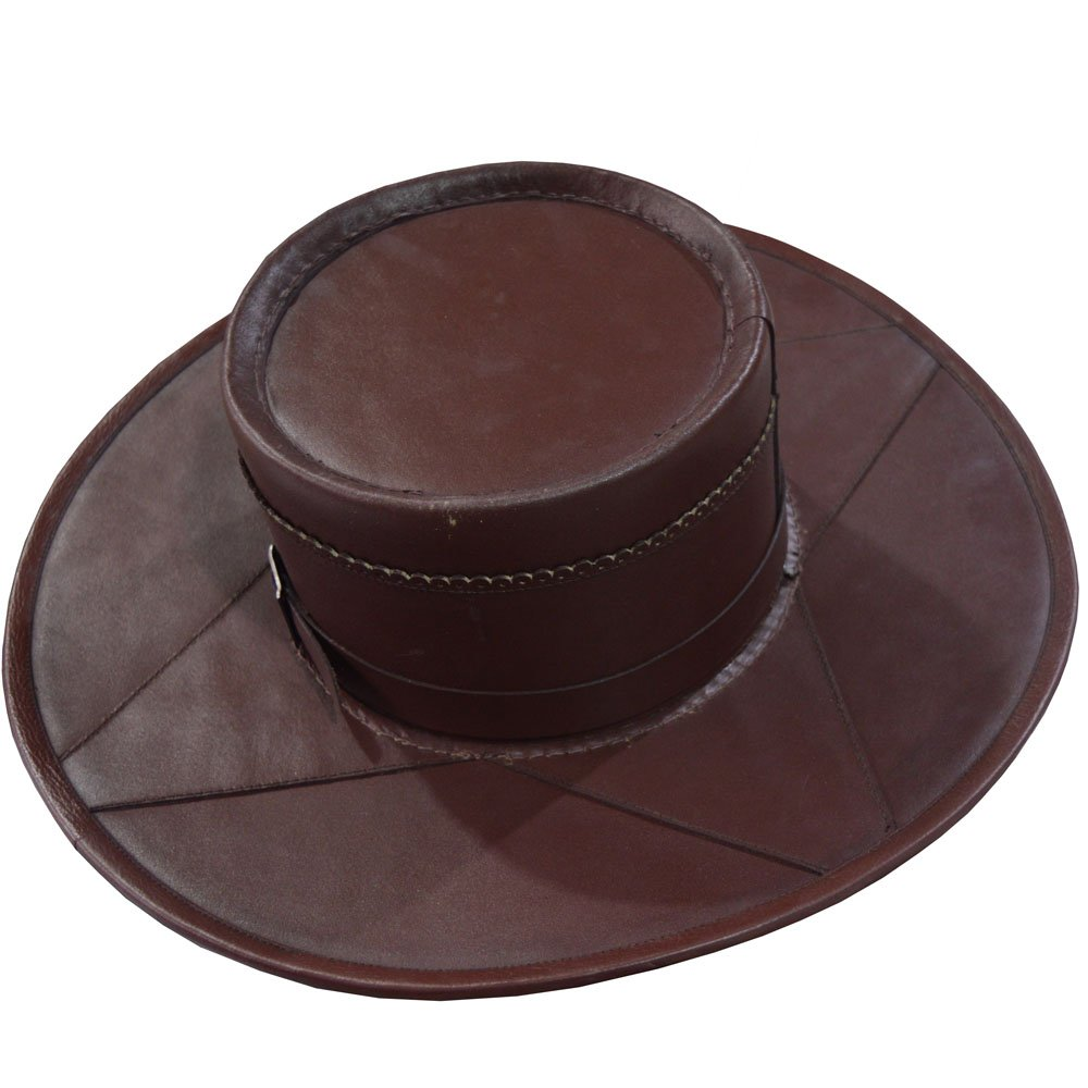NASIR ALI MEDIEVAL COSTUME HEAD N HOME BROWN LEATHER HAND CRAFTED STYLE PURE LEATHER HAT by NASIR ALI
