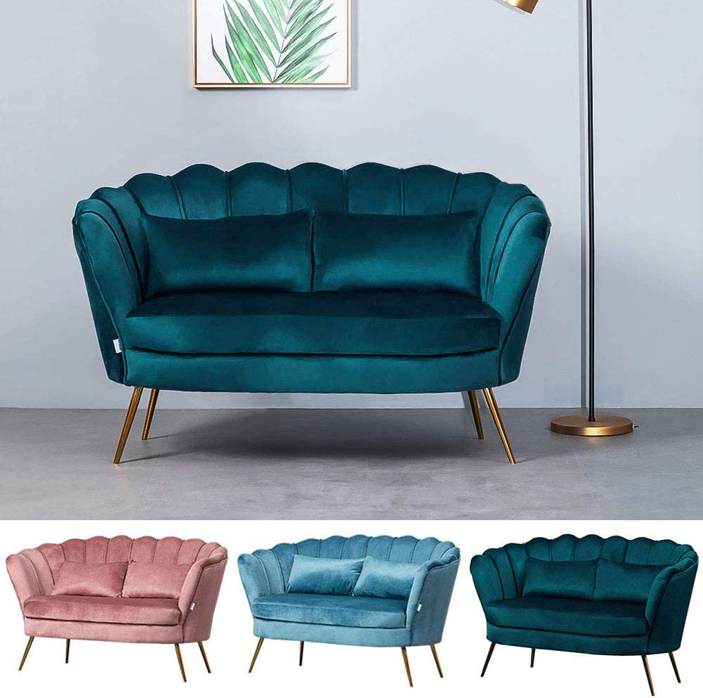 INMOZATA 2 Seats Sofa Velvet Fabric Loveseat Corner Sofa Modern Sofa Settee Couch with Metal Legs for Lounge Home Furniture Living Room Bedroom by WamieHomy Coral