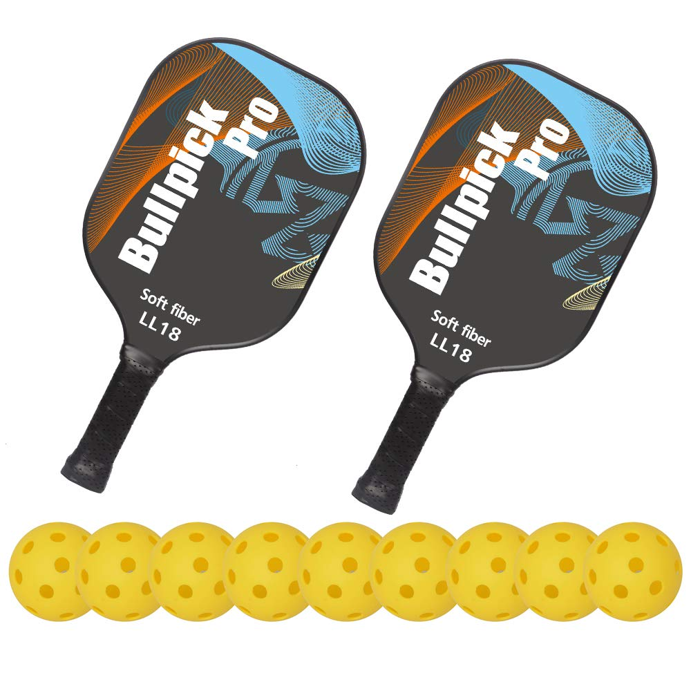 Bullpickpro Pickleball Paddle Sets-Composite Fiber Face and PP Honeycomb Core Pickleball Racquet,Lightweight(The Average of 7.2oz) Edge Guard Balanced Pickleball Rackets with 9 Pickleballs,Blue