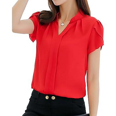 Runyue Camiseta Casual para Mujer Blusa Tops con Cuello En V Sólido Ajustado Camisas De Gasa Manga Corta: Deportes y aire libre