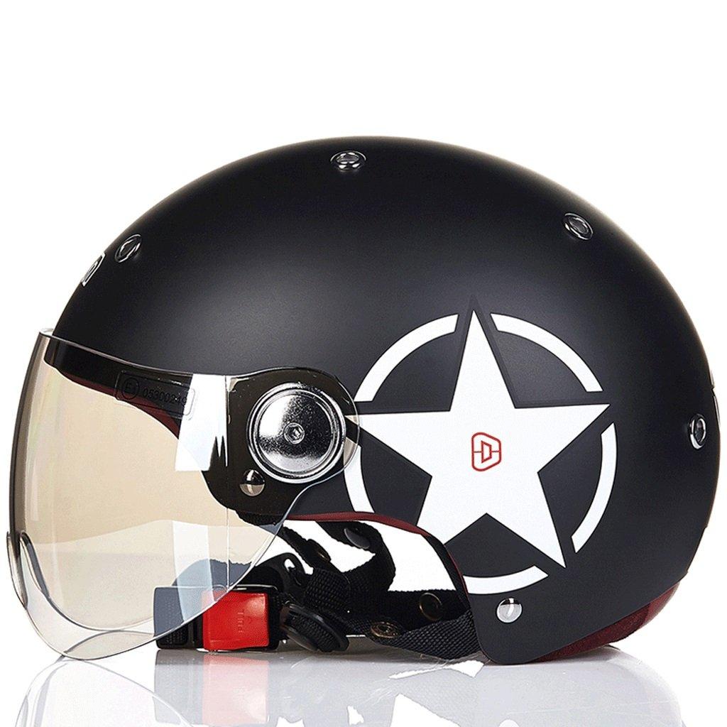 DGF ヘルメットオートバイ電気セミカバー春夏ライトウェストレトロ男性と女性スポーツアンチコリジョンヘルメットマルチカラー通気性汗 (色 : D, サイズ さいず : L l) B07FVY9JQL L l|D D L l