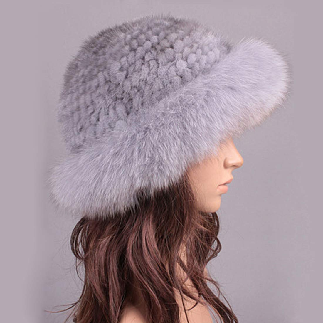 Womens Winter Hat Knitted Mink Real Fur Hats with Fox Fur Brim Elegant Hat for Women Grey by ClimbUp (Image #4)