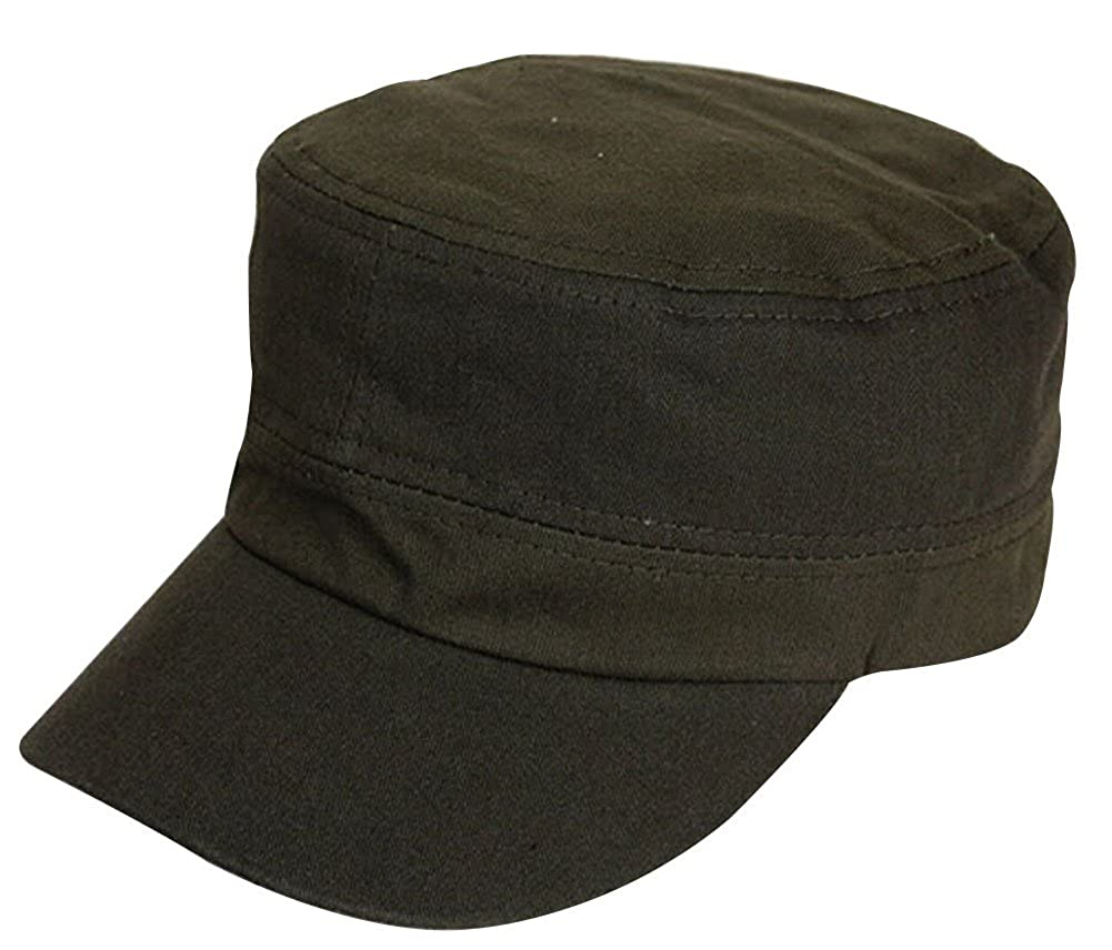 8ab31c751dd975 Faithtur Unisex Flat Top Cap Solid Cadet Hat Fitted Military Cap for Women  Army Hat for Men with Adjustable Strap (H.S. 52-58cm, Army Green) at Amazon  ...