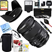 Sigma (635-205) 24-105mm F/4 DG HSM A-Mount ART Lens for Sony SLR + 64GB Ultimate Filter & Flash Photography Bundle