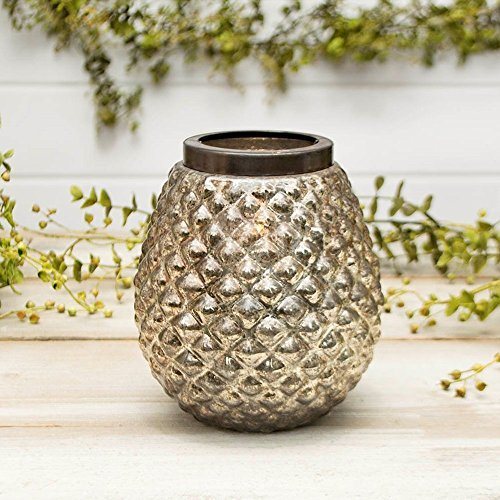 Mercury Glass Candle Holder, Pineapple Style, 5.75 in, Metallic Silver
