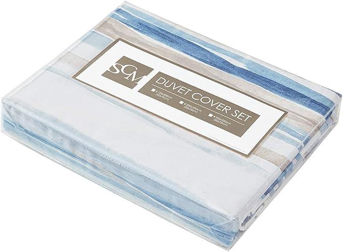 SCM Bettw/äsche Set Mikrofaser Gestreift in Aquarelloptik Marina 230 x 220 cm blau wei/ß